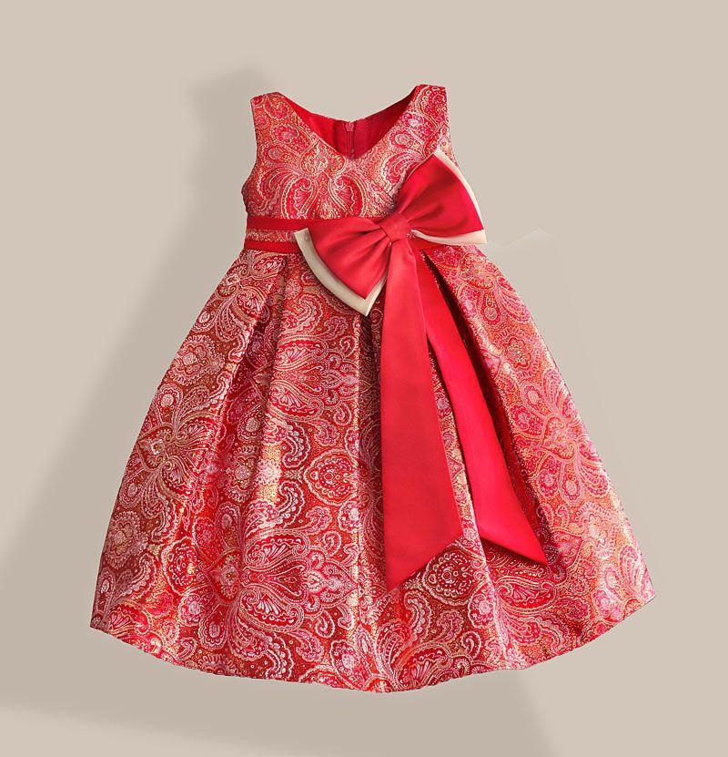 Rouge Grand Arc Filles Robe pour le Nouvel an Or Bronzage Coton Vif-longueur V-cou Enfants Partie Robes Taille 3-8 T
