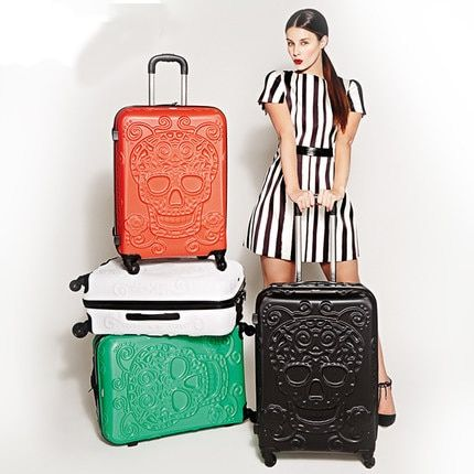 Fashion Skull Pattern Luggage Trolley Bag on wheels Travel Suitcase Travel Rolling Bag Baggage Suitcase Duffle Case