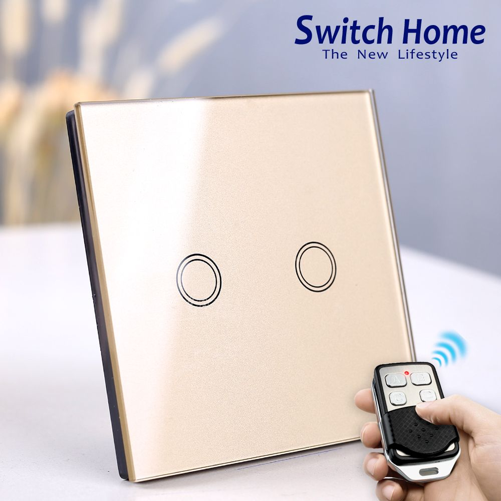Wireless Wall Light switch touch EU Standard Smart light Switch, 130-240V 1234 Gang Glass Panel Remote Control Touch wall Switch