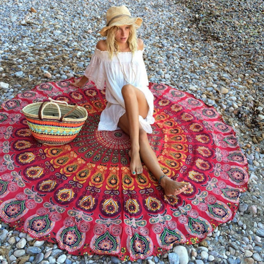 Chiffon round shawl wrapped skirt yoga mat beach towel shawl beach mat wall Anti-sunburn saida de praia suooprt wholesale