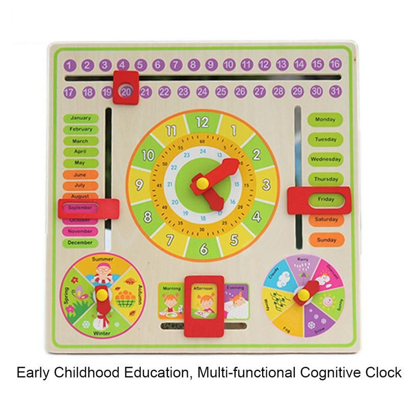 Clock Hanging Board Multi-Functional Training Clock Calendar Board Early Childhood Education Parent-Child Toy