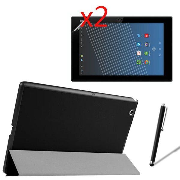 Ultra Mince Magnétique Folio Stand Étui En Cuir Smart Cover + 2x Films + 1x Stylet Pour Sony Xperia Z4 Tablet ultra 10.1 SGP771 SGP712