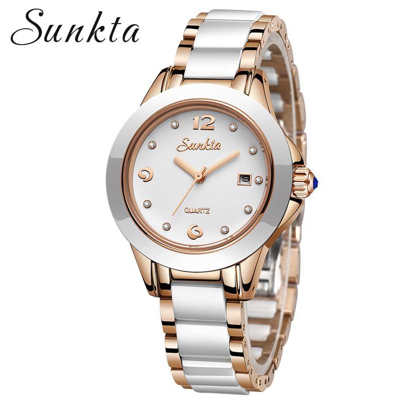 SUNKTA 2019 Neue Rose Gold Uhr Frauen Quarz Uhren Damen Top Marke Luxus Weibliche Armbanduhr Mädchen Uhr Relogio Feminino + Box