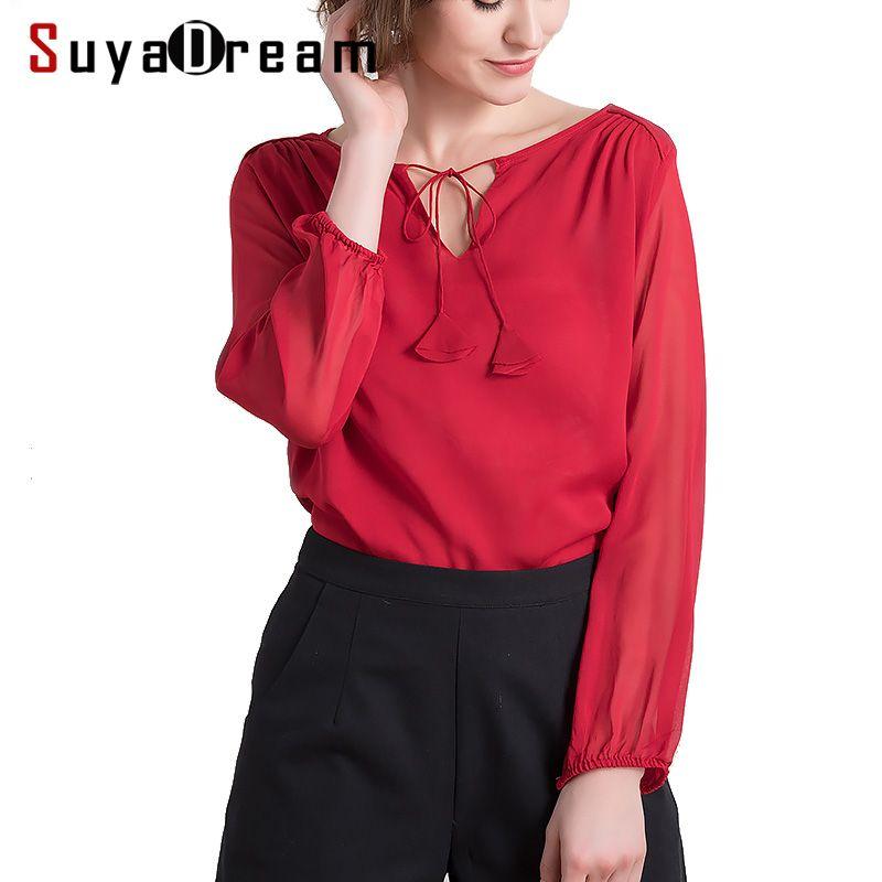SILK Women T SHIRT Long sleeved Solid chiffon T shirt 100% Real silk casual Top Blusas femininas 2018 Spring Wine Navy