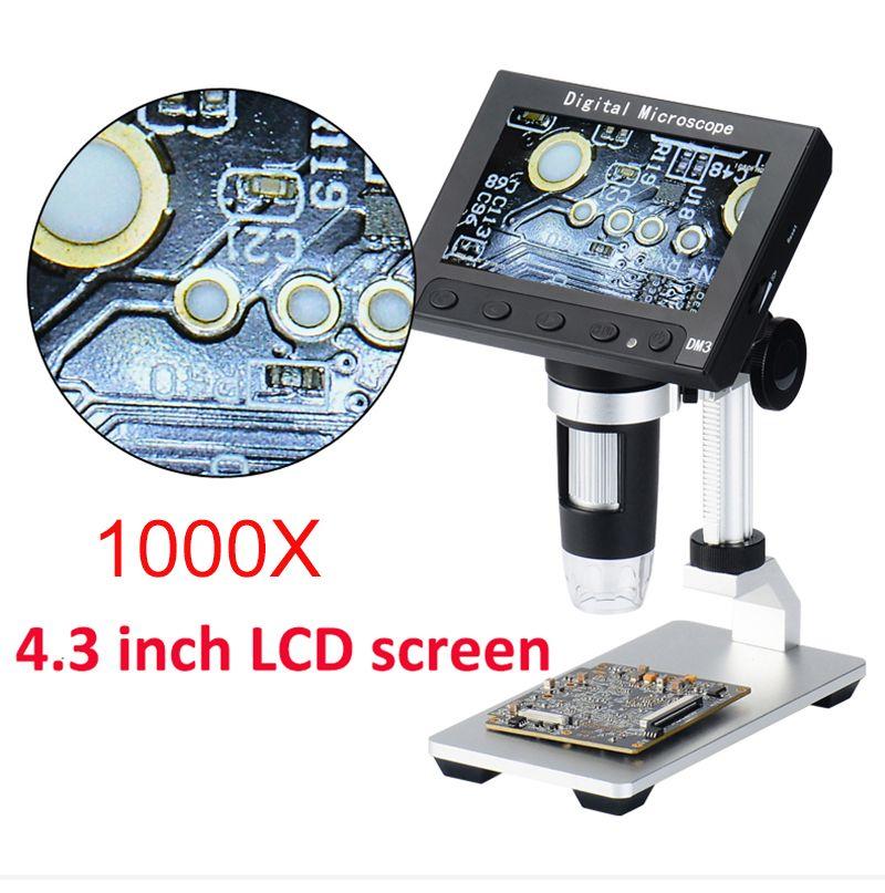 1000X USB electronic microscope lcd digital video microscope camera 4.3 inch HD OLED Endoscope magnifying Camera +LED lights