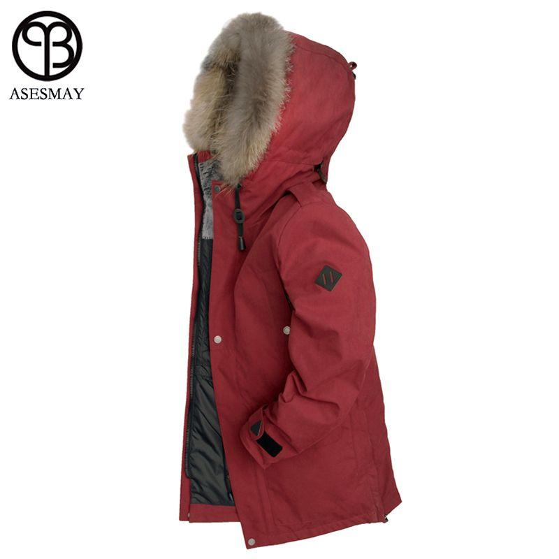 Asesmay 2018 Neue Ankunft Männer Winter Jacken Für Natürliche Pelz Unten Mäntel Dicken Wellensteyn Hohe Qualität Gans Parka Casual Jacke