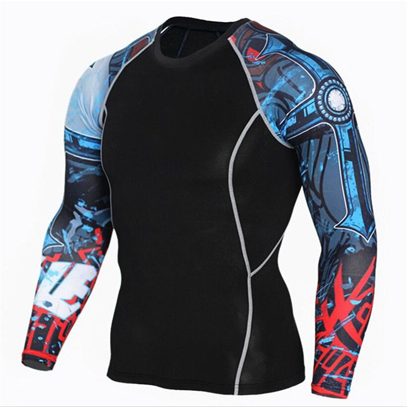 Men Compression Long sleeve Running sports Quick Dry t Shirt Bodybuilding weightlifting Base Layer gym Fitness Tight tee Tops