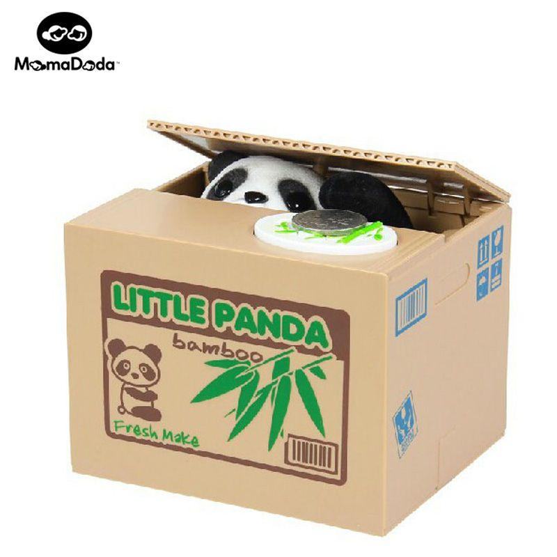 Travesura Hucha Robó La Caja de Monedas Eléctrico Automático Pequeño Panda perro Caja de Dinero Del Gato Divertido Juguete Alcancía Cumpleaños de Los Niños regalo
