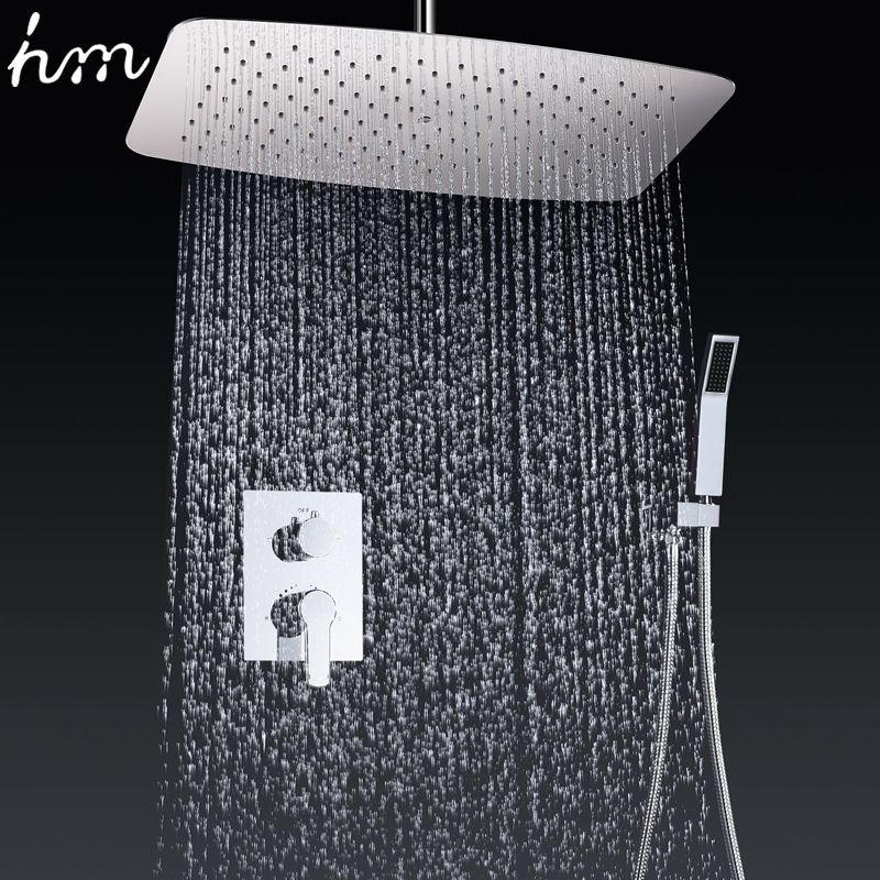 Bad Armaturen 35*55 cm Air Druck Wasser Sparen Dusche kopf Set Messing Chrom Wand Montiert Mixer Controller Dusche system