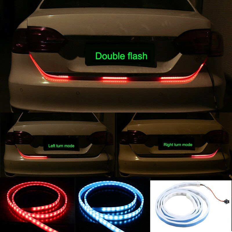 OKEEN red blue led trunk strip Flowing Rear Trunk Light red Turn Signal Strip Dynamic Streamer Reverse LED Warning <font><b>Flash</b></font> Lights
