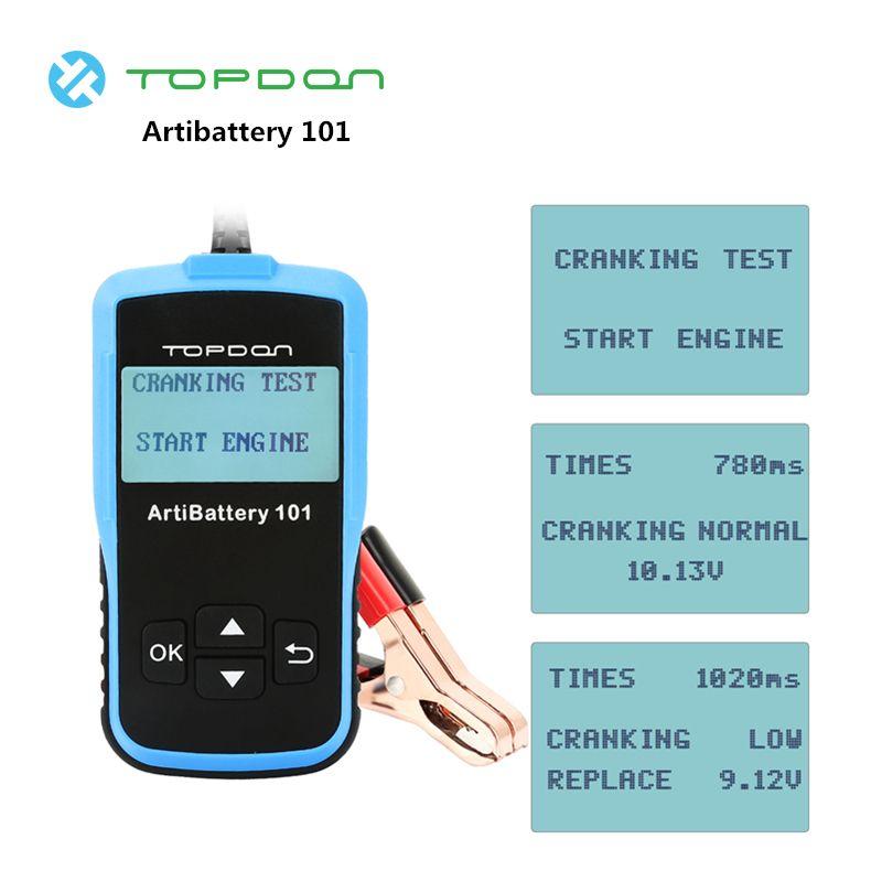 TOPDON Artibattery 101 Tester 100-2000 CCA für 12 V Autos Licht Lkw auf Ankurbeln Lade Batterie Last test metall Analysator