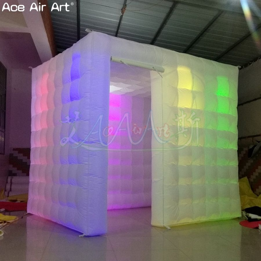 Novelty designed partial door beautiful photo booth shell,blow up photo cube party tent for sale