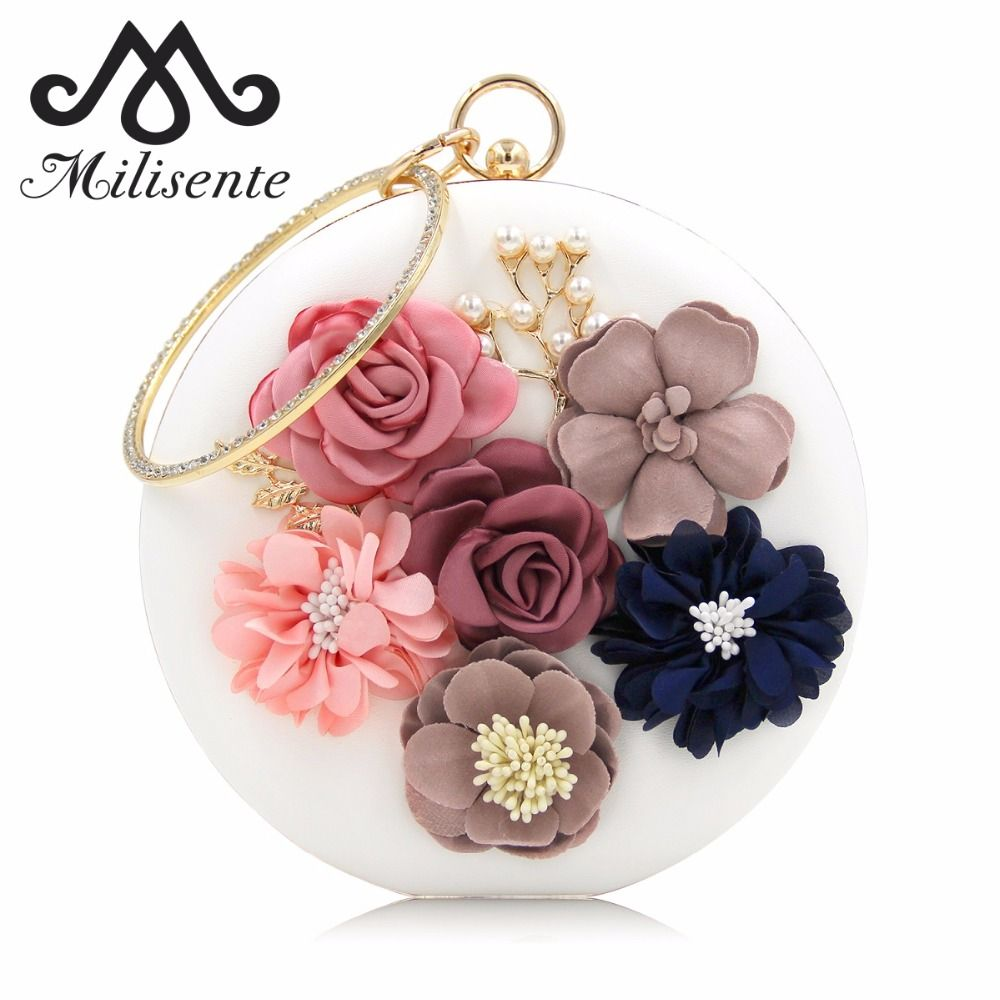 Milisente 2018 New Women Evening <font><b>Clutches</b></font> Bags Ladies Flower Wedding Bag Day <font><b>Clutch</b></font> Purse Female Party Bag