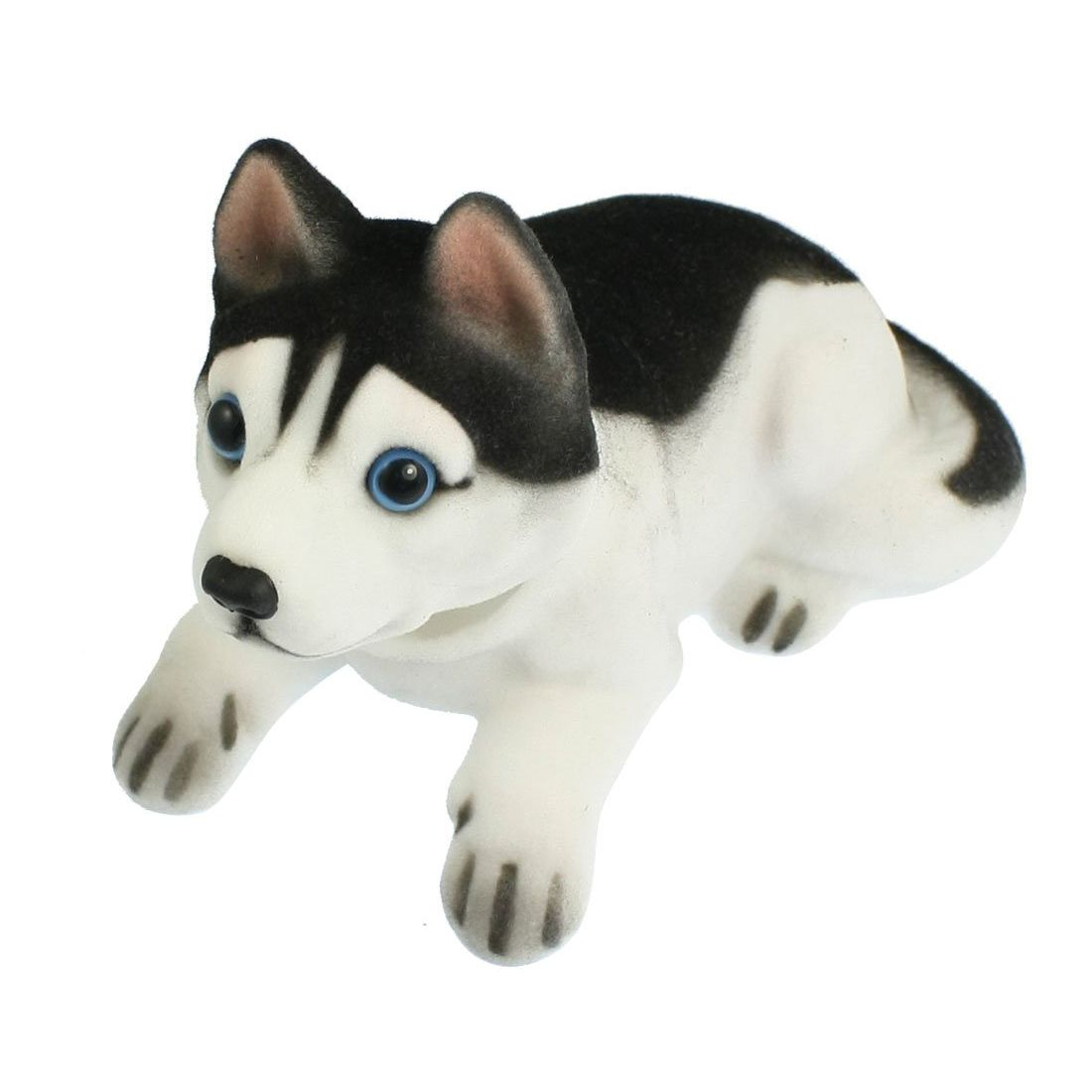 Car Auto White Black Husky Nodding Dog Decoration w Fragrant Beads
