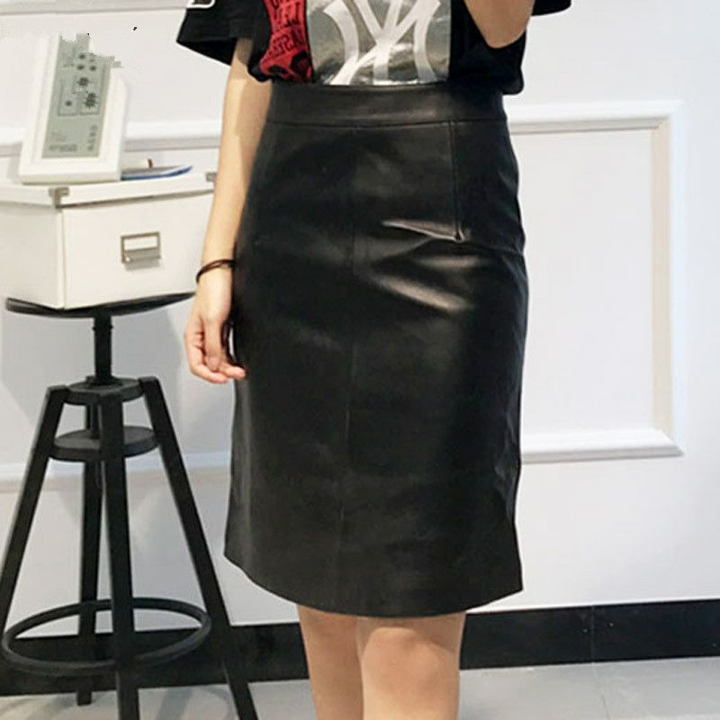 2018 Pencil Skirt Women Black Genuine Leather SkirtS High Waist A-line Middle Ladies Skirts Korean Fashion Clothing High Street