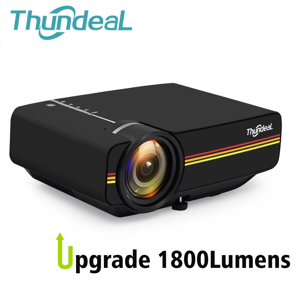 ThundeaL YG400 up YG400A Mini Projector 1800 <font><b>Lumen</b></font> Wired Sync Display More stable than WiFi Beamer Movie AC3 HDMI VGA Projector