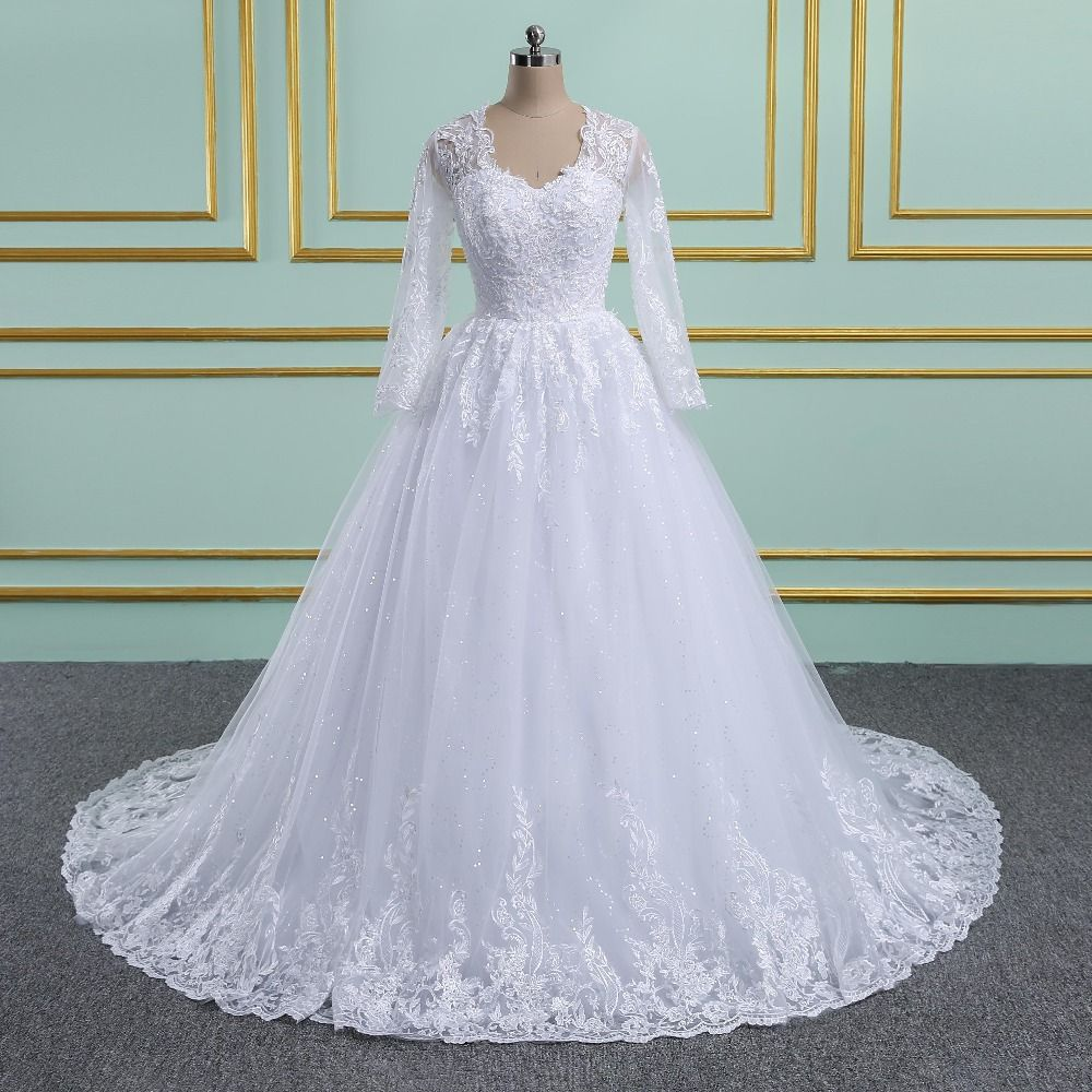 Vinca Sunny Luxury Embroidery Appliques V Neck Ball Gown Wedding Dress Pearl Lace Vintage Tulle Full Sleeves Bridal Gowns