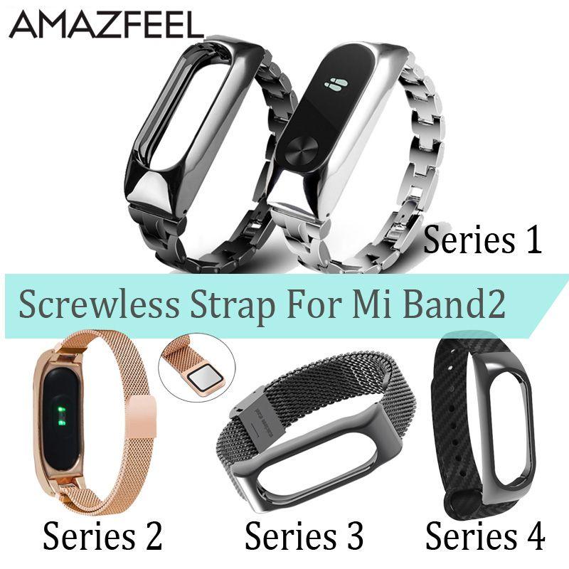 Mi Band 2 Handschlaufe Metall Für Xiaomi Mi Band 2 Schraubenlose Edelstahl Armband Miband 2 Armbänder Pulseira Miband2 Strap