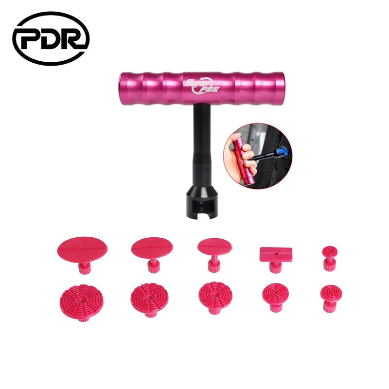 PDR Tools Dent Puller Kit Paintless Dent Repair Tools Dent Removal Mini Hand Lifter Small Red T-Bar Glue Tabs Suction Cups