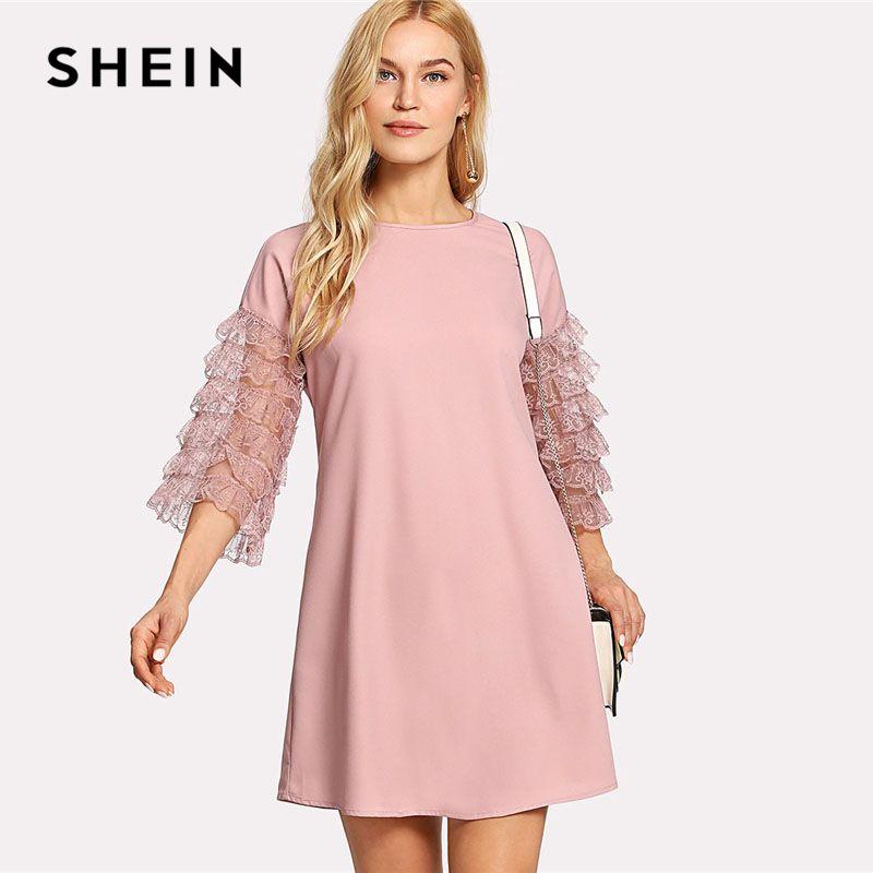SHEIN Ruffle Lace Sleeve Tunic Shift Dress Pink Round Neck 3/4 Sleeve Plain Dress 2018 Women Layered Sleeve Casual Short Dress