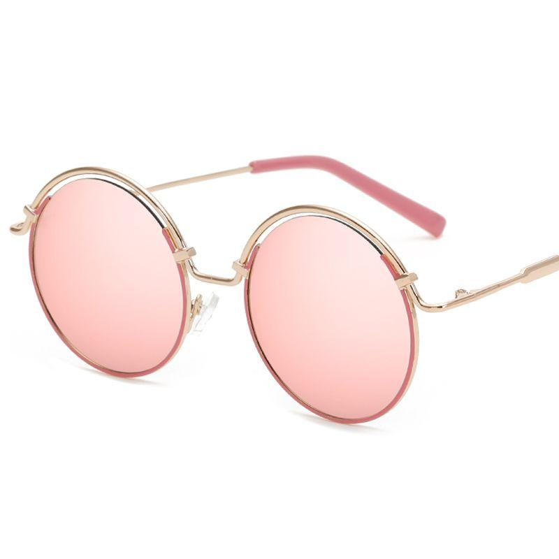 F. J4Z Top Trendige dame Sonnenbrille Mode Candy Farbe Beschichtung Spiegel Runde Legierung Rahmen Sonnenbrille Shades UV 400