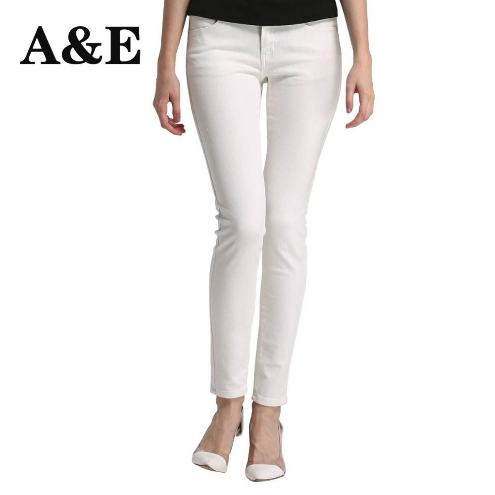 Alice & Elmer Skinny Jeans Woman Jeans For Girls Jeans Shortened Women Mid Waist Stretch Jeans Female Pants White