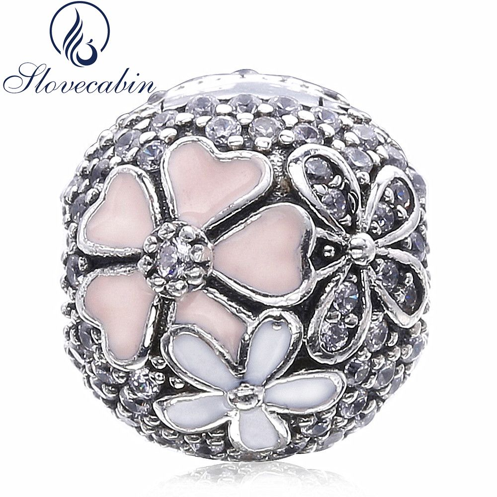 Slovecabin 2017 Spring Authentic 925 Sterling Silver Poetic Blooms CZ Clip Beads Fit Original <font><b>Pandora</b></font> Charm Bracelet Diy Make Up