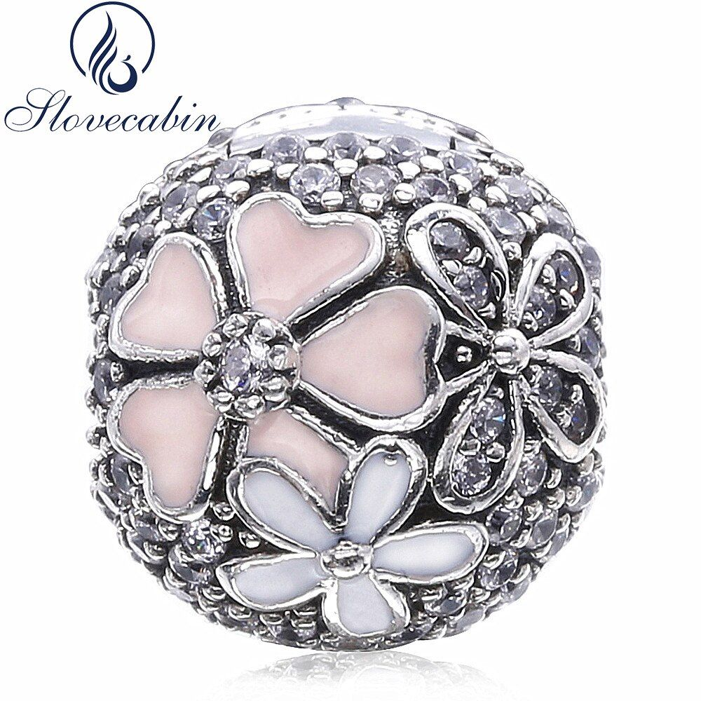 Slovecabin 2017 Spring Authentic 925 Sterling Silver Poetic Blooms CZ <font><b>Clip</b></font> Beads Fit Original Pandora Charm Bracelet Diy Make Up