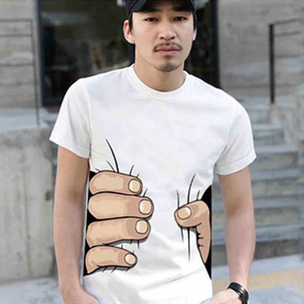 Männer Hemd Sommer T Lustige Große Hand Greifen Taille Druck Kurzarm T-shirt Tops 3d Gedruckt T-Shirts Männer T hemd