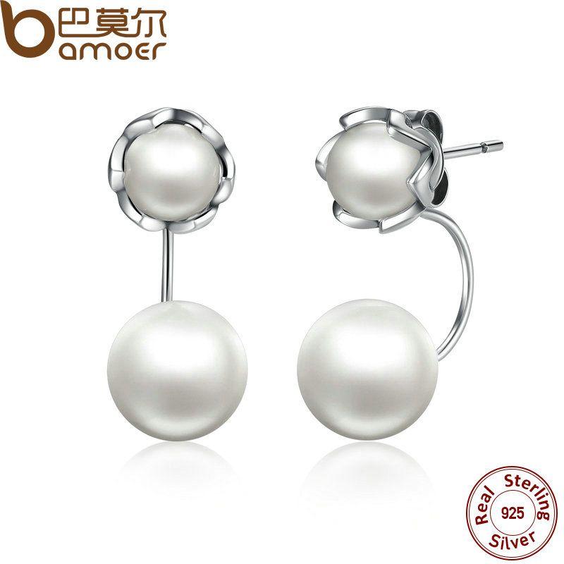 BAMOER Nuevo 100% Auténtica Plata de Ley 925 Perlas Simuladas Estilo Especial de La Joyería Los Pendientes de Gota Hembra SCE002