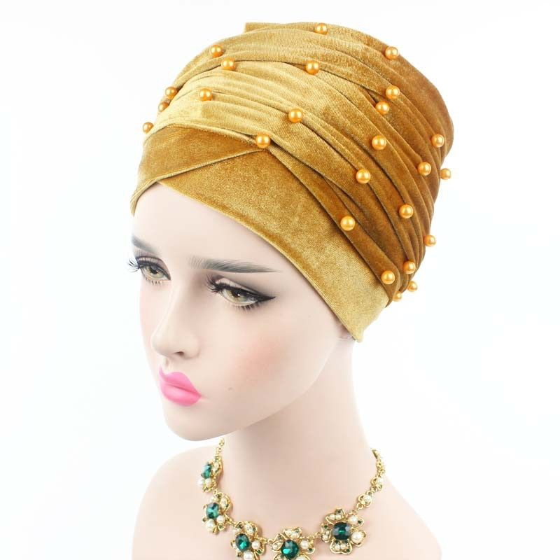 2018 Velvet Turban Head Wraps Hijab Head Scarfvelvet Luxury Woman Velvet Turban Headband Beaded Studded Pearled Extra Long