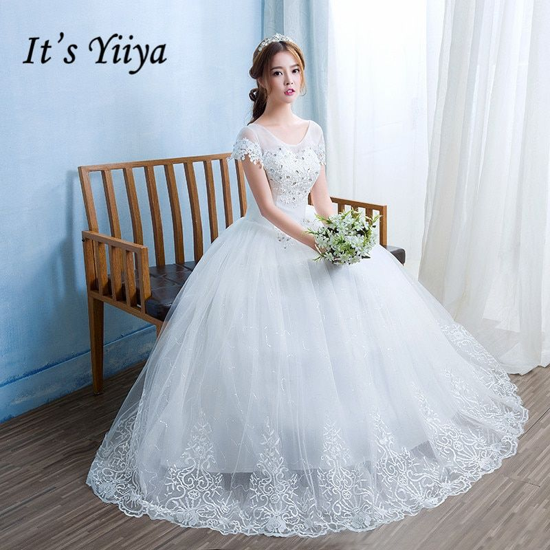 Free Shipping New 2017 Real Photo O-neck Short Sleeves Romantic Bride Gowns White Princess Lace up Cheap Wedding Dress HS233