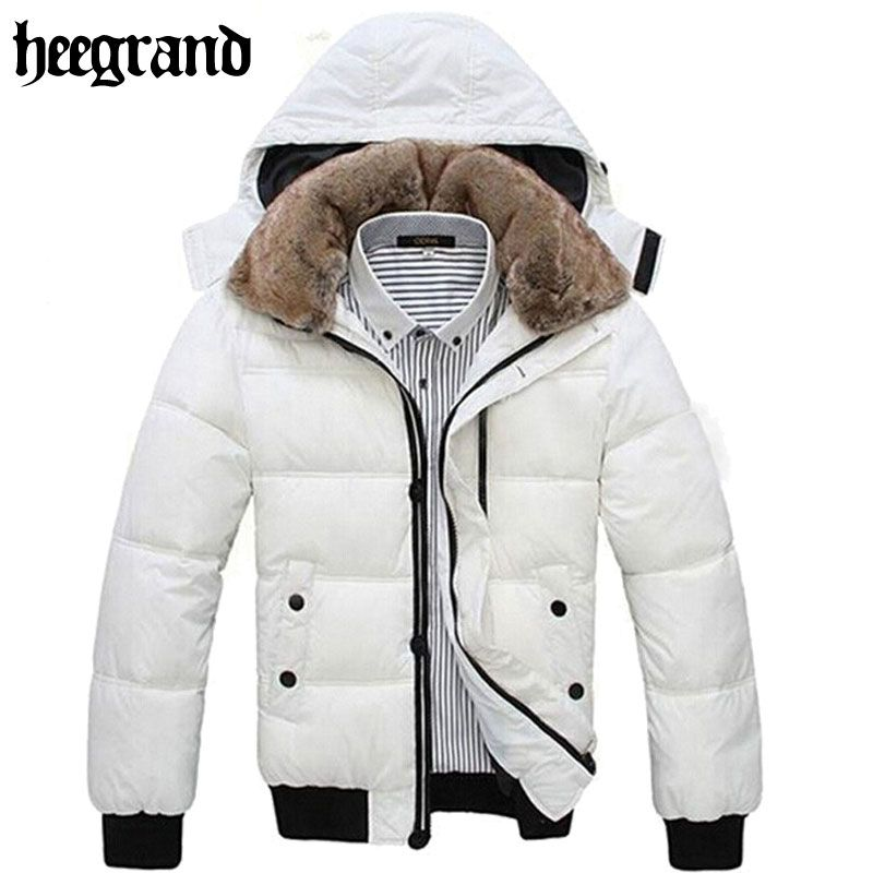 HEE GRAND Thick Warm Men Winter Coat 2018 Hot Fashion Jacket Men Parka Leisure Wear <font><b>High</b></font> Quality Plus Size Black White MWM001