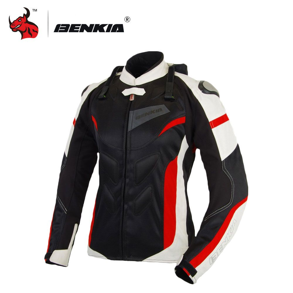 BENKIA Motorcycle Jacket Breathable Motorcycle Racing Jackets Women Motocross Protective Jersey Moto Jacket Blouson Moto Femme