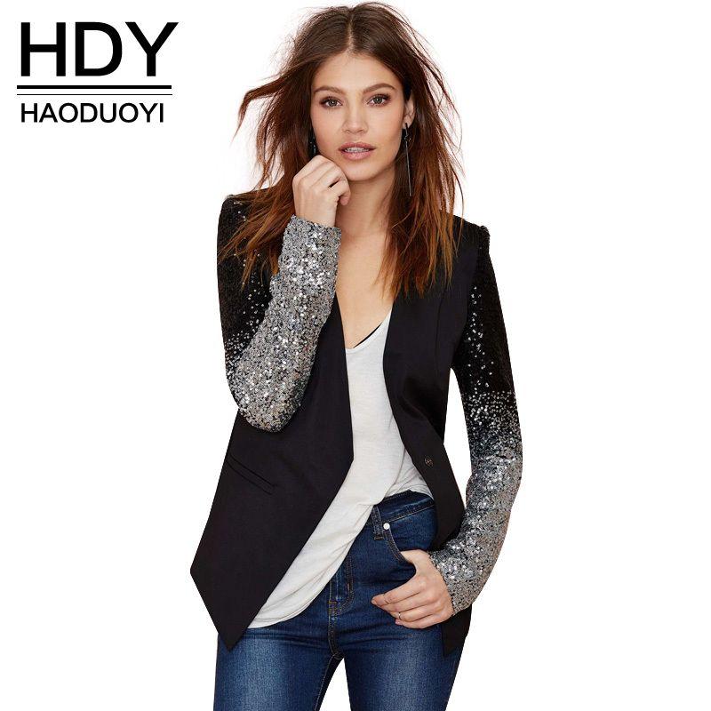 HDY Haoduoyi узкие женские PU лоскутное черный серебристыми блестками Куртки полный рукав модная зимняя куртка для оптовая продажа