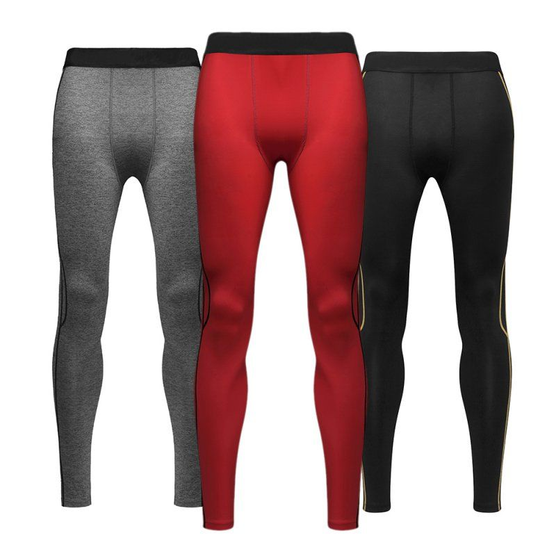 Men's Comfortable Athletic Compression Base Running Pants Stretchy Long Trousers Tight Inner Leggings