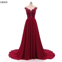 Cheap 2018  Burgundy A-line Evening Dresses Long With Buttons Sexy See Through Back High Split Lace Prom Dress Evening Gowns