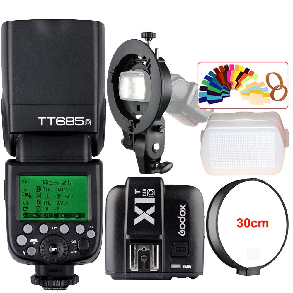 Godox TT685O 2.4G HSS 1/8000s TTL Camera Flash Speedlite + X1T-O Trigger + Bowens S-Type Bracket for Panasonic Lumix DSLR Camera