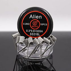 10 piezas Alien clapton ss316L NI80 A1 bobinas pre-construidas para cigarrillos electrónicos RBA RDA RTA vape tanque vape Alien alambre de la calefacción