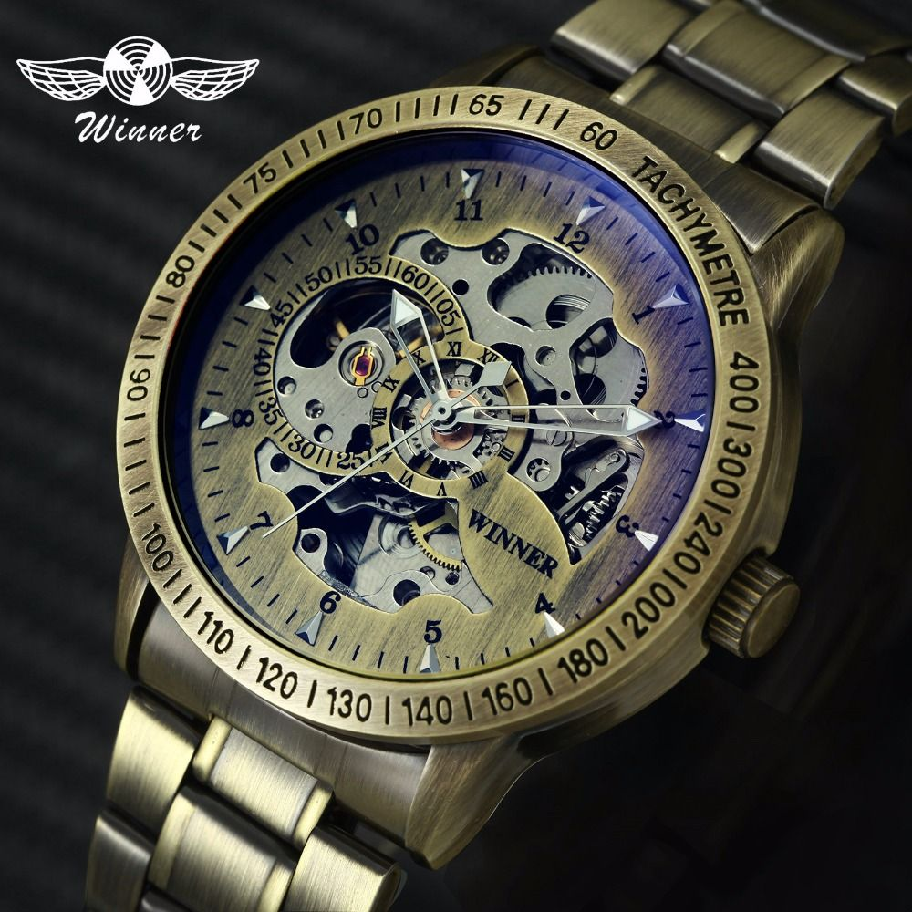 WINNER Official Fashion Mens Watches Top Brand Luxury Military Watch Men Automatic Mechanical Metal Steel Skeleton Wristwatch