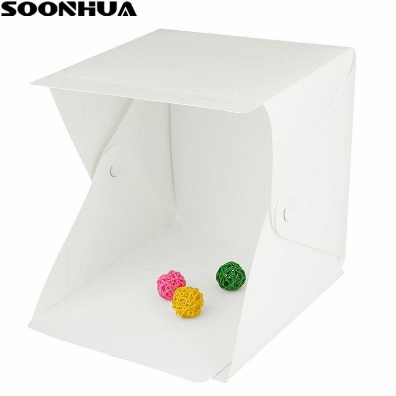 SOONHUA Portable Pliant Lightbox Photographie Studio Softbox LED Lumière Soft Box Tente Kit pour Téléphone Appareil Photo REFLEX NUMÉRIQUE Photo Fond