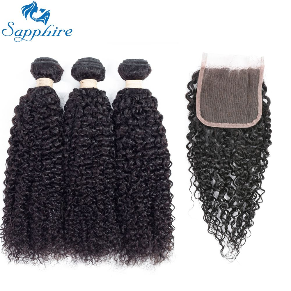 Sapphire Kinky Curly Remy Human Hair 3 Bundles With Lace Closure Natural Color For Hair Salon High Ratio Longest Hair PCT 15%