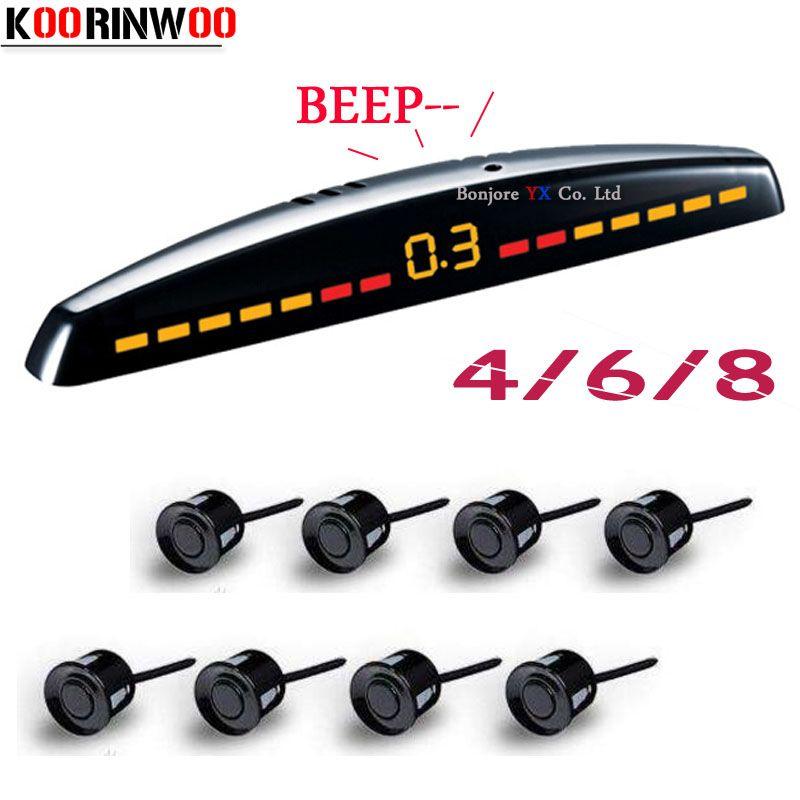 Koorinwoo Parktronics capteurs de stationnement de voiture 8/6/4 capteurs détecteur de radar de secours capteurs de stationnement de voiture système de moniteur LED Automobiles