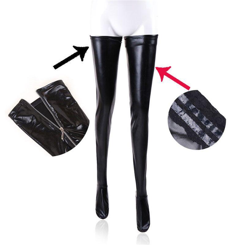 Femmes Sexy Latex fermeture à glissière bas dame noir PVC pôle danse cuir érotique Clubwear longueur au-dessus du genou haut bas