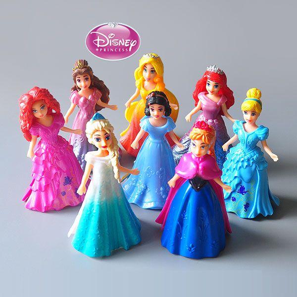Disney Toys 8pcs/Lot 10cm Princess Cinderella Frozen Elsa Anna Pvc Action Figure Set Doll Dress Can Change Classic Toys For Kid