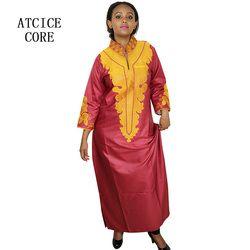 Robes pour les femmes africaines Dashiki Robes bazin riche africain traditionnel des vêtements À Manches Longues Pour dames sans écharpe LA018 #