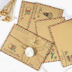 16 Pieces/Lot Large Vintage Envelope Postcard Letter Stationery Paper AirMail Vintage Office Supplies Kraft Envelope 11*16