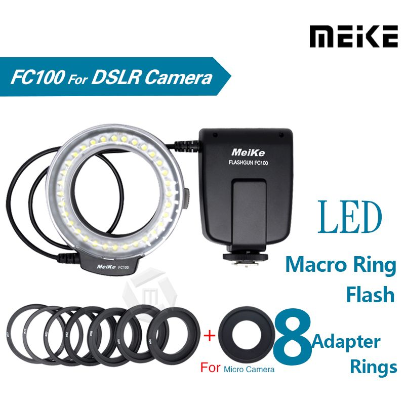 Meike FC100 LED Macro Ring Flash Light for Canon 450D 500D 550D 600D 650D 700D 1100D 6D 7D 5D Mark II & Nikon Digital SLR Camera