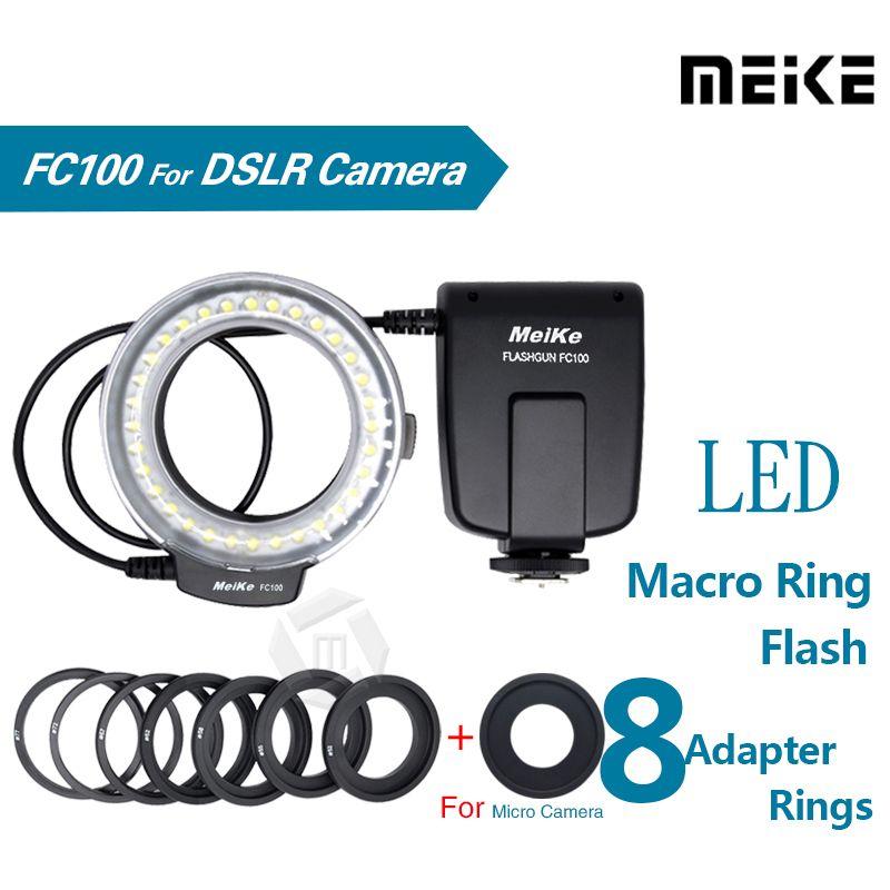 Meike FC100 LED Macro anneau Flash lumière pour Canon 450D 500D 550D 600D 650D 700D 1100D 6D 7D 5D Mark II & Nikon appareil photo reflex numérique