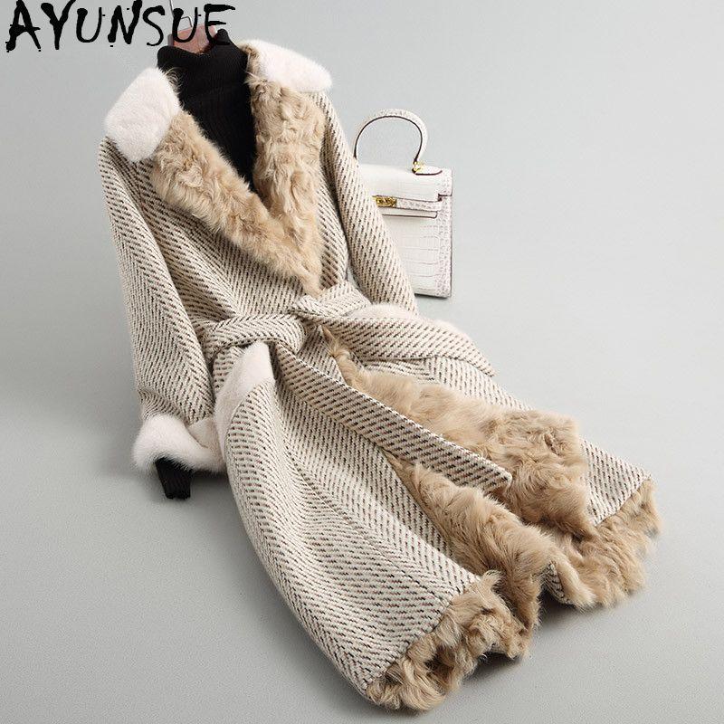 AYUNSUE 2018 Women's Fur Coat Long Tweed Wool Blends Winter Jacket Women Natural Mink Fur Collar Real Lamb Fur Coats WYQ1767